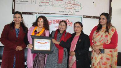 Photo of क्रियाशिल पत्रकार महिला तनहुँको सस्थापक अध्यक्ष सोनी शर्मा सम्मानित