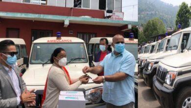 Photo of सम्भव नेपाल नामक संस्थाले गोरखाका पाँच स्थानीय तहलाई ६ वटा एम्बुलेन्स र स्वास्थ्य सामाग्री सहयोग